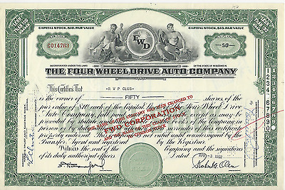 1962 THE FOUR WHEEL DRIVE AUTO COMPANY WISCONSIN RVP CLUB *Pays cancer bills