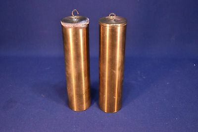 VINTAGE PAIR OF BRASS LEAD FILLED CLOCK WEIGHTS- 2100 g EACH -4.67 LBS
