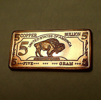 5 Gram 999 Fine Copper Bullion Bar Buffalo Design