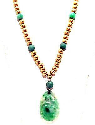 Vintage Chinese 14K Solid Gold and Jade Necklace