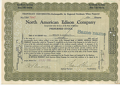 1926 North American Edison Company Temp Stock Certificate GREEN Pays Cancer Bill