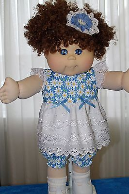 Cabbage Patch Doll Cloths- Blue with white daises dress, bloomers - hair bow