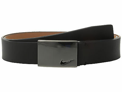 New Nike Mens No-Hole Plaque Leather Golf Belt - Black - Small