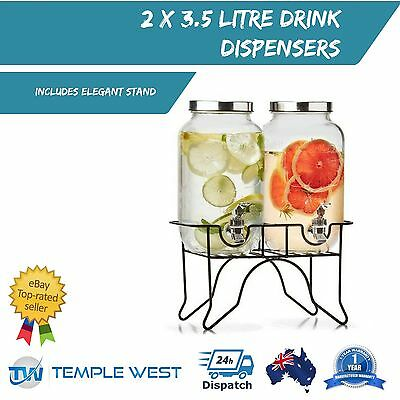 2 x 3.5L Drink Dispenser on Stand Cold Drink Water Juice Cooler Party Wedding