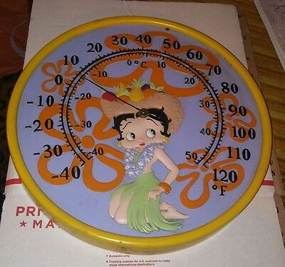 Betty Boop Thermometer hula girl dancer sun dial yellow round Used