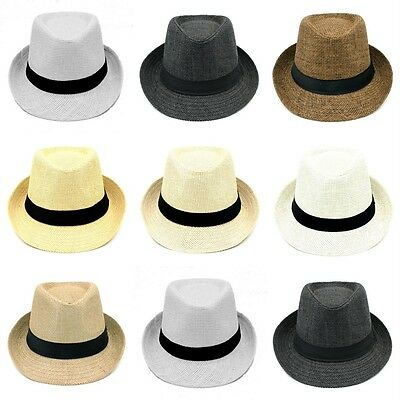 2 Size Summer Straw Fedora Trilby Hat Gangster Caps Beach Jazz Cap for Adult Kid