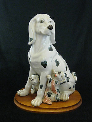 Tall Dalmatian Dog and Two Pup's Large Pottery Figurine Statue
