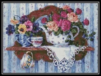 Roses and Pansies - Cross Stitch Chart/Pattern/Design/XStitch