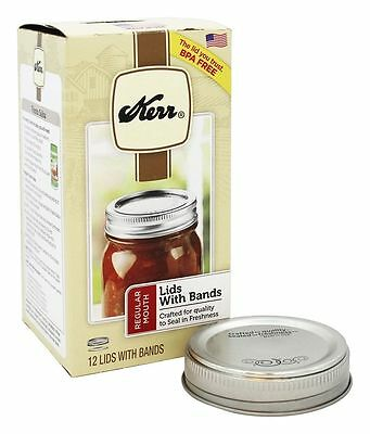 Kerr 12pk Regular Mouth Canning Jar Lid with Bands