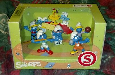 SCHLEICH 2012  THE OLYMPIC SMURFS BOX SET Cake Toppers Figures 5 pcs NEW