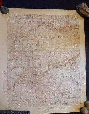 Original Antique Yosemite Quadrangle Topographic Map - 1909 ed. Reprinted 1929