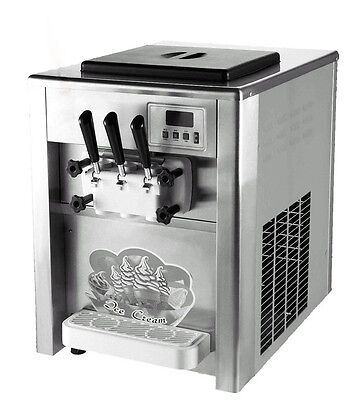 110V 18L/H  Commercial 3 Flavor ice cream maker Soft ice cream making machine