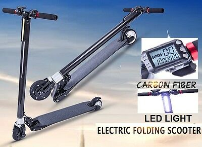 250W Carbon Fiber Portable & Foldable Electric Scooter Commuter Motorized Bike