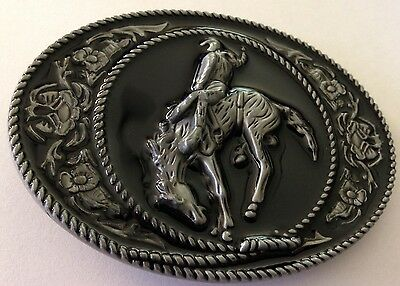 Metal Belt Buckle - Rodeo/country/bronco/cowboy/cowgirl - Silver Tone -New