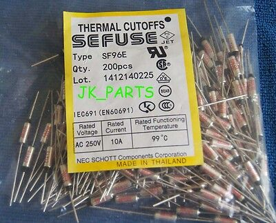 10pcs SF96E SEFUSE Cutoffs NEC Thermal Fuse 99°C Celsius Degree 10A 250V