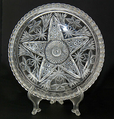 ABP cut glass bowl with central star, signed Clark, ca 1910-15 [3526]