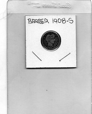 1908-S 10C Barber Circulated Silver Dime