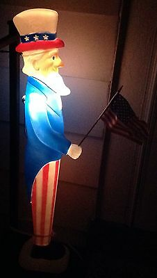 """LIGHTED 36"""" Vintage Union Uncle Sam Patriotic 4th of July Blow Mold !Excellent!"""