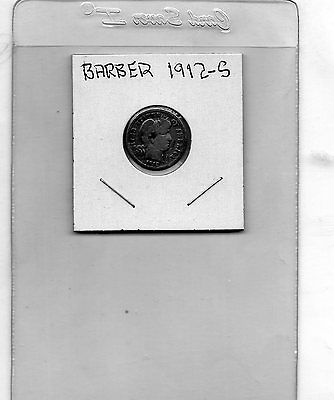 1912-S 10C Barber Circulated Silver Dime