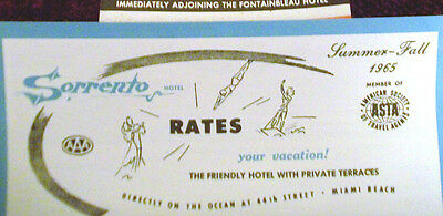 """Miami Beach Sorrento Hotel rate schedule 4 pages 7"""" x 3.5"""" antique 60's"""
