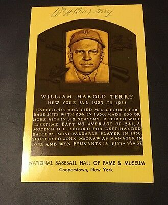 W.H. BILL TERRY  AUTOGRAPHED Signed NATIONAL BASEBALL HOF Postcard JSA COA !!!!