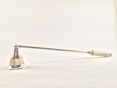 Vintage Silverplate Candle Snuffer Mother of Pearl Inlay