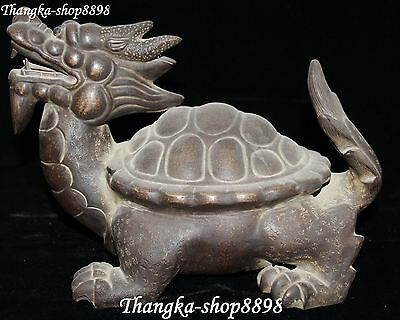 China Yixing ZiSha Carving Dragon Turtle Dragons Turtles Tortoise Animal Statue