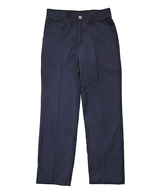 French Toast Boy's Pants Navy 7 Adjustable Waist Double Knee Twill Flat Front