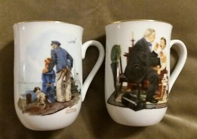 """Norman Rockwell Mugs """"The Country Doctor"""" and """"Looking Out to Sea"""""""