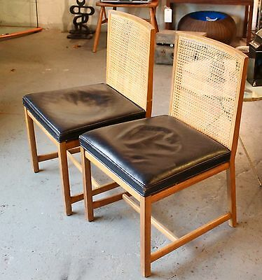 """Pair of Vintage Michael Taylor for Baker """"New World"""" Cane Leather Dining Chairs"""