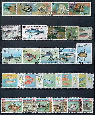 FISH Mixed Lot of 26 Stamps from Different Countries  Most CTO