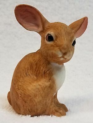 Porcelain Clay Bisque Brown & White Easter Bunny Jack Rabbit/Hare Figurine