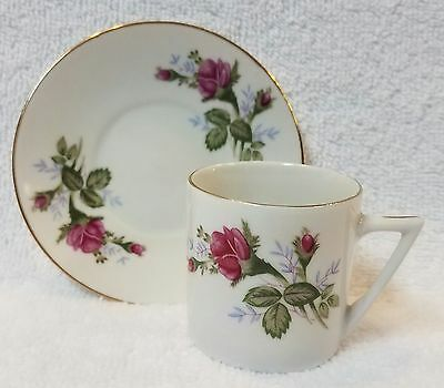 "Vintage ""Moss Rose"" Pattern Demitasse Tea Cup & Saucer Pink Roses Made in China"