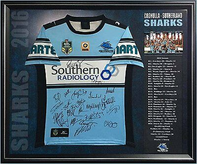 Cronulla Sutherland Sharks 2016 Premiers Signed Jersey Framed With Coa Gallen