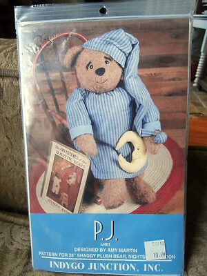 Vintage PJ Amy Martin Indygo Junction Teddy Bear Pattern w 15mm glass eyes