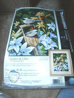 Dimension needlepoint Kit Chickadees & Lilies11 by 14 20068 NEW