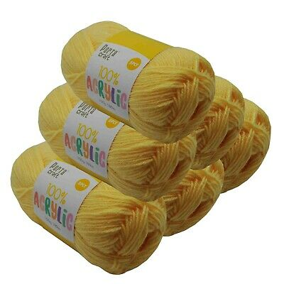 Super Soft Acrylic Knitting Yarn 100g 8 Ply 189m Solid Lemon