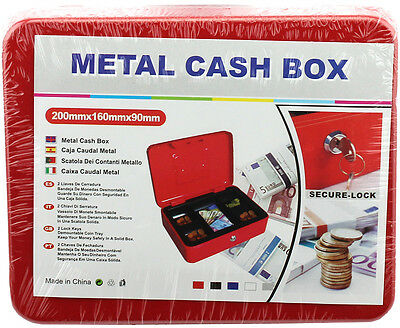 Metal Cash Box Bank Lockable Safe Deposit Petty Coin Money Box Keys sturdy RED!