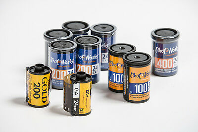 10 rolls of 35mm color negative film, Kodak Gold and PhotoWorks ISO 100 200 400
