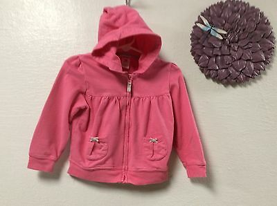 Carters girls jacket size 18 months pink hooded zip front pockets 137