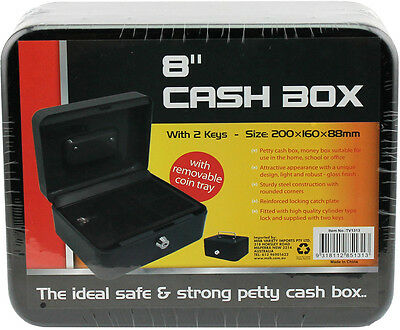 Black Metal Cash Box Bank Lockable Safe Deposit Petty Coin Money Box Keys sturdy