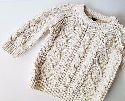 Baby GAP Boys 2T Chunky Cable Knit Sweater Ivory Cream Pullover Crewneck