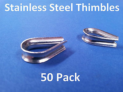 50 X THIMBLES 316 GRADE STAINLESS STEEL 3.0 to 3.2mm BALUSTRADE DECKING EYELETS
