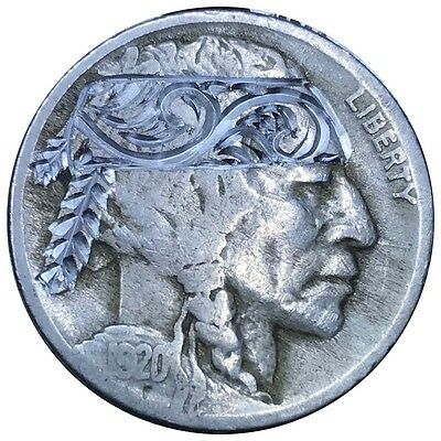 Hobo Nickel Coin Art 1920 Engraved Headdress Scroll Filigree Carved Feathers 110