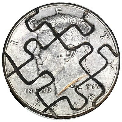 Coin Art Hobo NIckel 2000 Half Dollar Puzzle Peices Of My Mind Blown 172