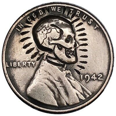 Hobo Nickel Coin Art 1942 Wheat Penny Cent Classic Holy Skull Zombie Death 080