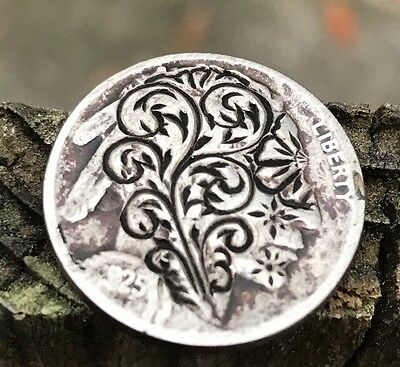 Coin Art Hobo Nickel Buffalo Money Filigree Scroll Abstract Vines Carved 183