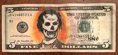 Dollar Bill Art 2009 Five Abe Lincoln Skull Zombie Charcoal Pencil Drawing
