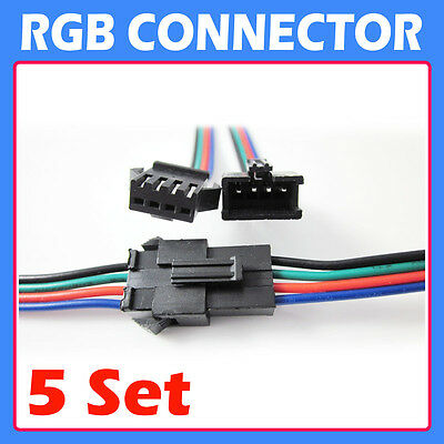 5 PCS 4 PIN RGB Connector Wire Cable For 5050 3528 SMD LED Strip Male and Female