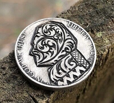 Coin Art Hobo NIckel 1981 Jefferson Filigree Scroll Abstract Floral 136